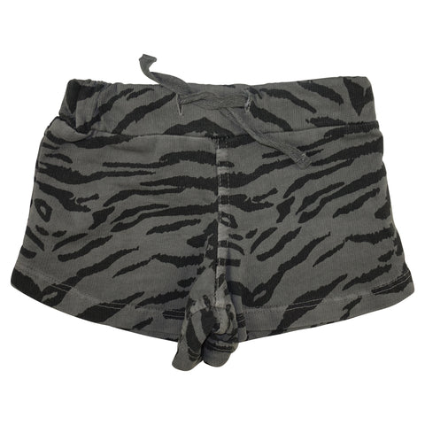 Tiger Stripe Mini Shorts-Gray