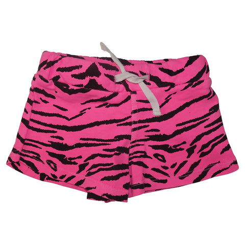Tiger Stripe Mini Shorts-Neon Pink