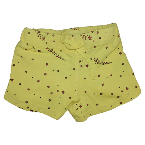 Star Print Mini Shorts- Yellow - Ice Cream Castles Kids