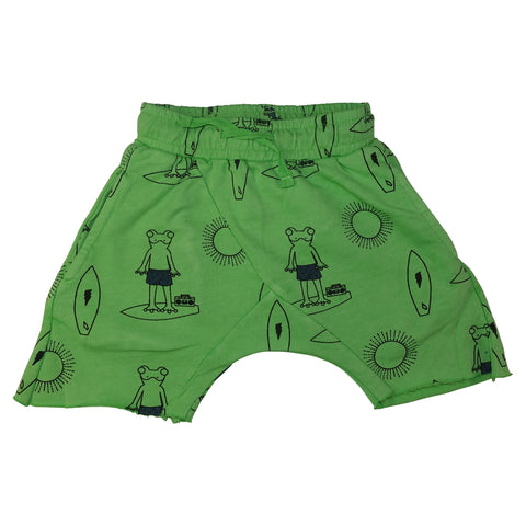 Frog Surf Print Harem Shorts-Green