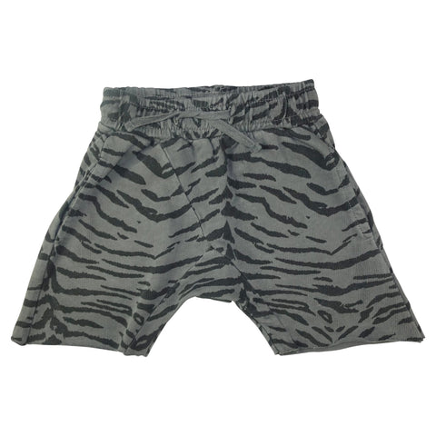 Tiger Stripe Harem Shorts- Gray