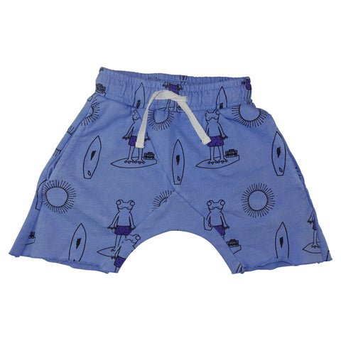 Frog Surf Print Harem Shorts-Blue