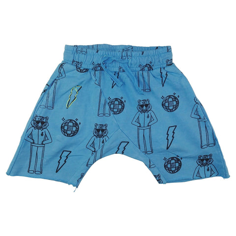 Tiger Disco Print Harem Shorts- Bright Blue
