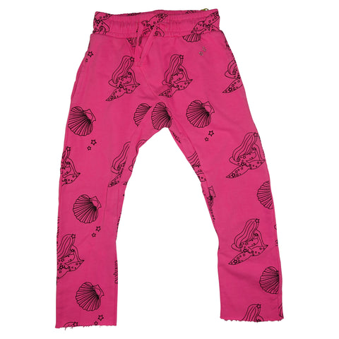 Mermaid Repeat Print Harem Pant- Neon Pink