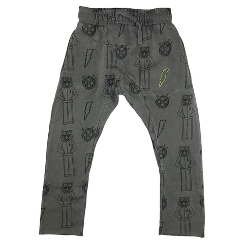 Tiger Disco Print Harem Pant- Gray - Ice Cream Castles Kids