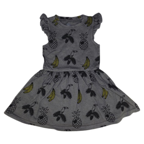 Banana and Bird Print Ruffle Dress- Gray