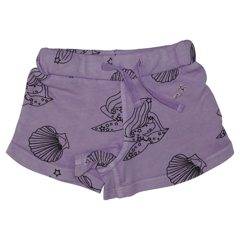 Mermaid Repeat Print Mini Shorts-Lavender - Ice Cream Castles Kids