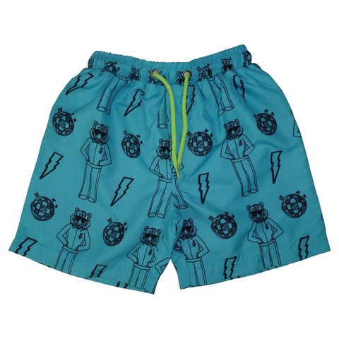Tiger Disco Swim Trunks- Bright Blue - Ice Cream Castles