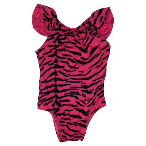Tiger Print Swimsuit with Ruffle Detail- Neon Pink - Ice Cream Castles