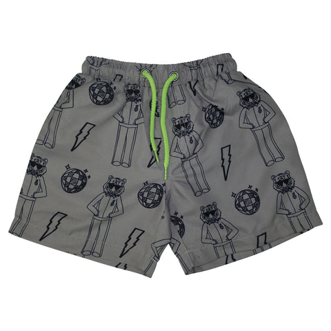 Tiger Disco Swim Trunks- Gray - Ice Cream Castles Kids