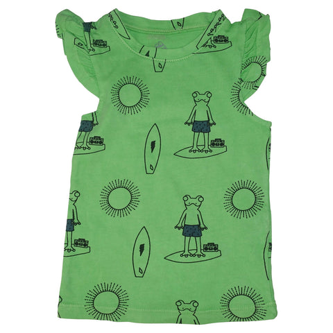 Frog Surf Print Ruffle Tank- Green - Ice Cream Castles Kids