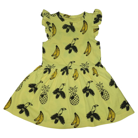 Banana and Bird Print Ruffle Dress- Yellow - Ice Cream Castles