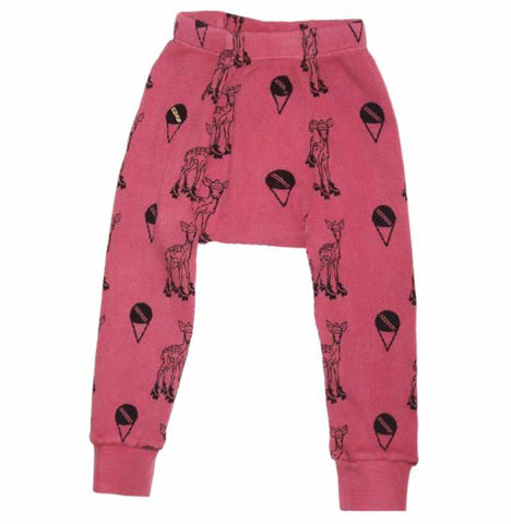 Deer Print Thermal Pant- Pink - Ice Cream Castles Kids