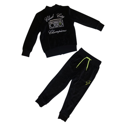 Cloud City Champions Velour Track Suit- Black - Ice Cream Castles Kids