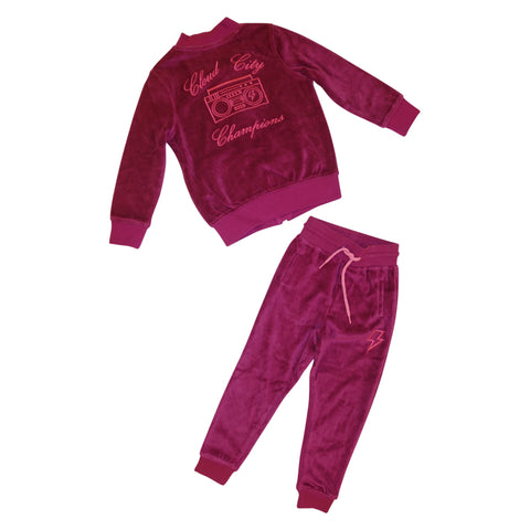 Cloud City Champions Velour Track Suit- Berry - Ice Cream Castles Kids