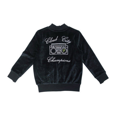 Velour Cloud City Track Jacket- Black - Ice Cream Castles Kids