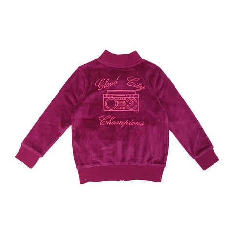 Velour Cloud City Track Jacket- Berry - Ice Cream Castles