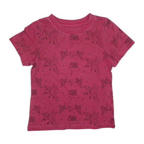 Pegasus Print Short Sleeve Tee- Berry - Ice Cream Castles Kids