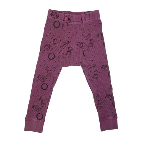Fox Cheerleader Print Thermal Pant- Mauve - Ice Cream Castles Kids