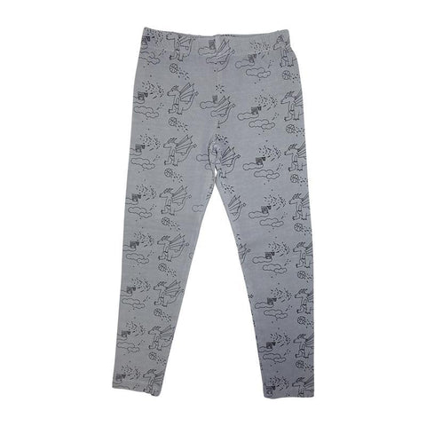 Dragon Print Leggings- Gray - Ice Cream Castles
