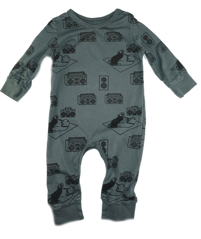 Ice Box Lodge Print Romper- Grey - Ice Cream Castles