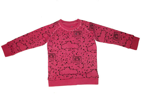 Mt. Mint Chip Cassette Repeat Print Pullover- Pink - Ice Cream Castles