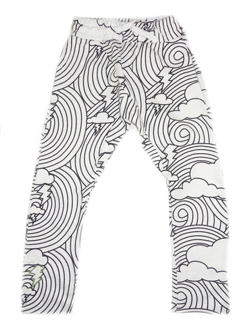 Cloud Lightning Print Harem Pant- White - Ice Cream Castles Kids