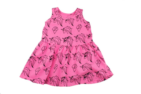 Unicorn Print Tank Dress- Neon Pink - Ice Cream Castles