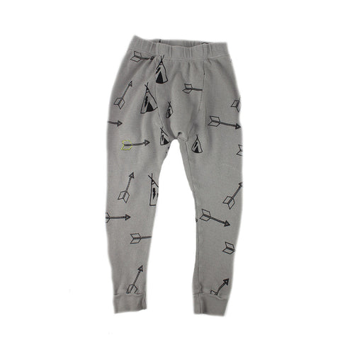 Tee Pee & Arrow Print Thermal Pant- Stone - Ice Cream Castles