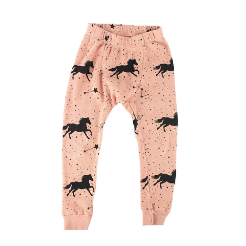 Horse & Star Print Thermal Pant- Salmon - Ice Cream Castles