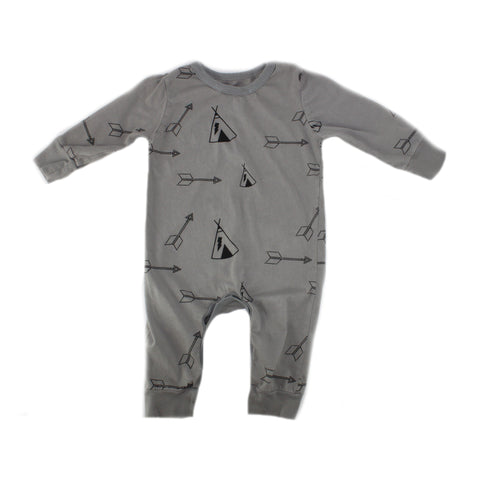 Tee Pee & Arrow Print Romper- Stone - Ice Cream Castles
