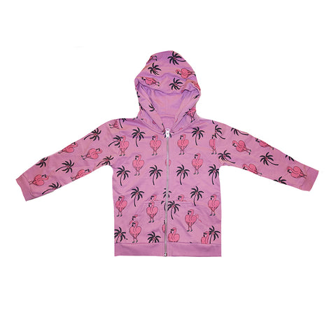 Flamingo Repeat Print Zip Hoodie in Lilac - Ice Cream Castles Kids
