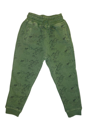 Dragon Print Jogging Pant- Olive - Ice Cream Castles Kids
