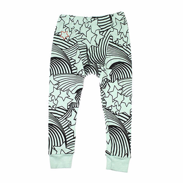 3bae0e1cf0ea1 Wave and Star Print Leggings- Mint - Ice Cream Castles