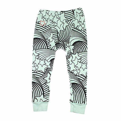 Wave and Star Print Leggings- Mint - Ice Cream Castles