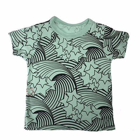 Wave and Star Print Tee- Mint - Ice Cream Castles