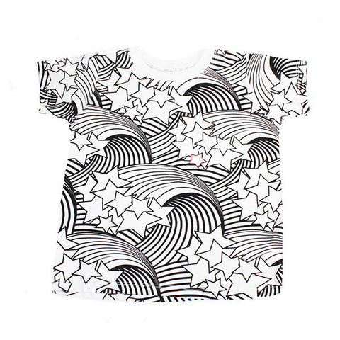 Wave and Star Print Tee- White - Ice Cream Castles