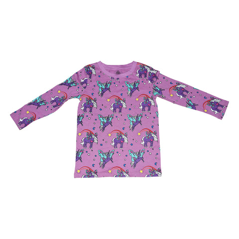 Unicorn Papillon Long Sleeve Tee in Orchid - Ice Cream Castles