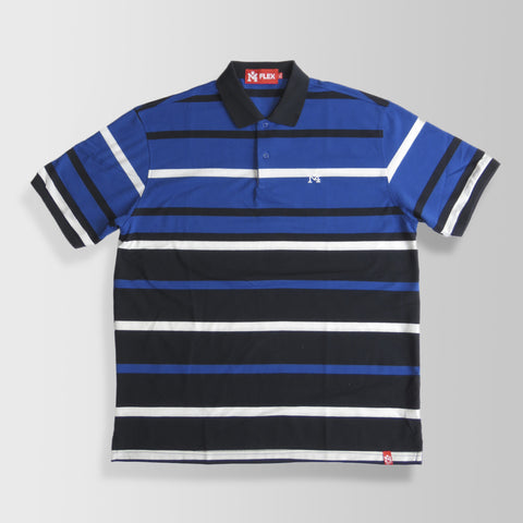 Blue, Black & White Stripes Polo Shirt