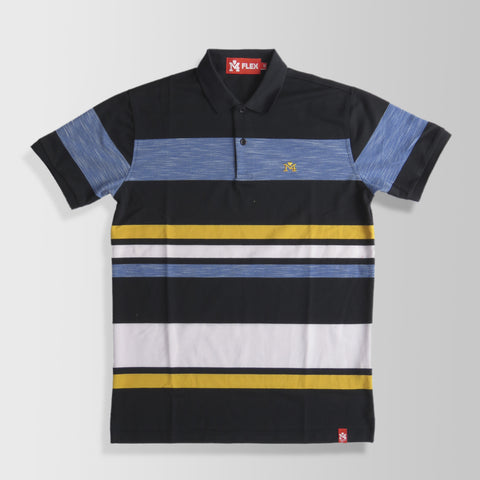Blue, Black, Yellow & White Stripes Polo Shirt