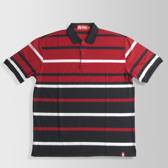 Red, Black, & White Stripes Polo Shirt