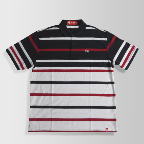 White, Black, & Red Stripes Polo Shirt
