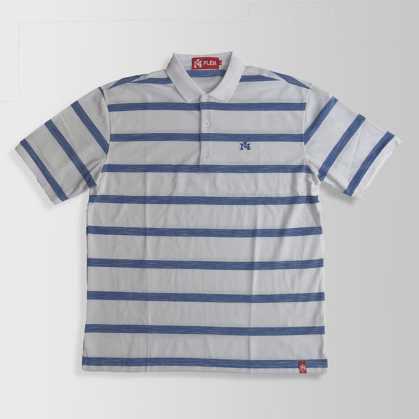 White & Blue Stripes Polo Shirt