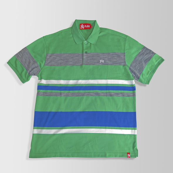 Green, Blue & Gray Stripes Polo Shirt