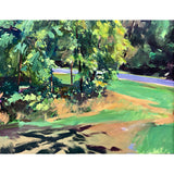 Landscape painting in green with trees and a path by Clive Pates