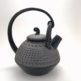 Black and gray rope-handled teapot by Suzanne Crane at Cottage Curator - Sperryville VA Art Gallery