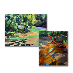 Landscape paintings in green and orange by Clive Pates at Cottage Curator