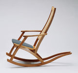 Wood rocking chair with padded seat by Craig Ernst - Cottage Curator, Sperryville VA Art Gallery