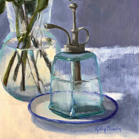 Detail of plant mister in still life painting of pink roses with baby's breath in a glass vase with a blue background by Kathy Chumley at Cottage Curator - Sperryville VA Art Gallery