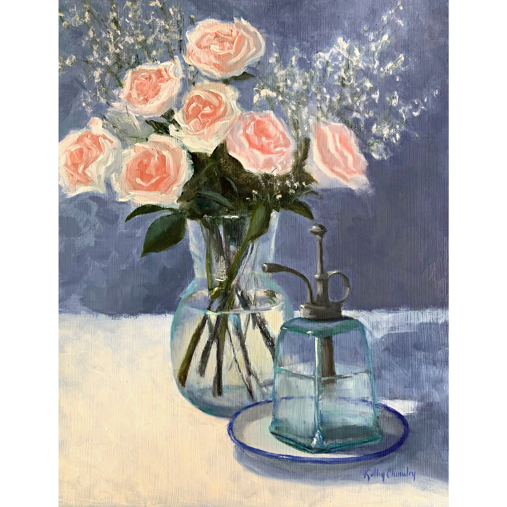 Still life painting of pink roses with baby's breath in a glass vase on white tabletop with a blue background and plant mister in the foreground by Kathy Chumley at Cottage Curator - Sperryville VA Art Gallery